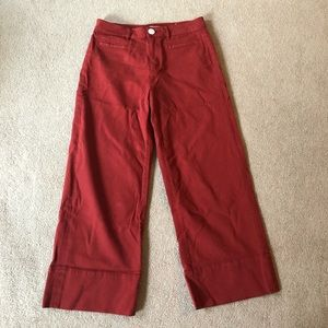 LOFT mid rise red flare leg trousers